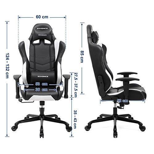 SONGMICS Fauteuil gamer, Chaise gaming, Fauteuil de bureau, Ergonomique, Hauteur réglable, Noir + Blanc RCG12W