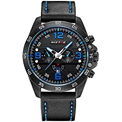 LONGBO Sportive Mens Unique Black Leather Band Military Big Face Watches Decorative Chrono Eyes Black Dial Date Calendar Wristwatches Waterproof Business Analog Quartz Watch For Man
