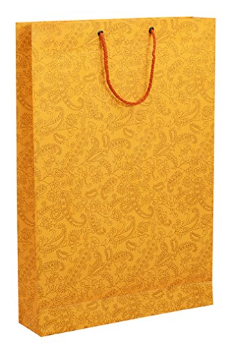 BDPP PREMIUM GIFT PAPER CARRY BAGS-GOLD PRINT ON MANGO BASE(PACK OF 10) -SIZE-16*11 INCES