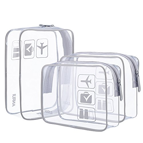 3 Teile/Paket ANRUI Klar Kulturbeutel Reisegepäck Make-Up Taschen Kosmetiktasche Organizer für Frauen Männer Kinder(Grau) (Make-up Tasche Organizer Flugzeug)