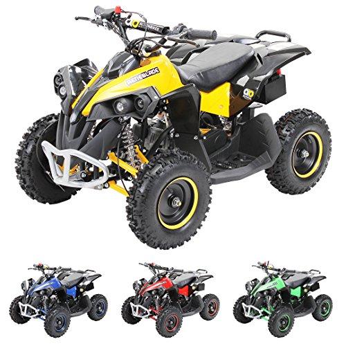Actionbikes Motors Mini Kinder Elektro Quad ATV RENEBLADE 49cc 2-Takt Pocket Quad - Original Easy Pull Starter - Notaus Leine - Kinder Pocketquad (Schwarz/Gelb)