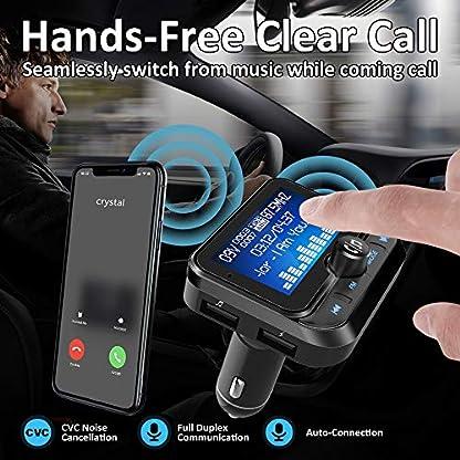 Bluetooth-FM-Transmitter-Ulycool-Wireless-Auto-Radio-Adapter-Freisprecheinrichtung-Car-Kit-mit-USB-Auto-Ladegerte-35mm-AUX-und-Micro-SDHC-Karten-Slot-fr-iPhone-Android-18-Zoll-LED-Bildschirm