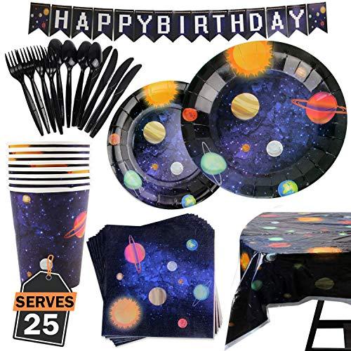 177 Artículos con Diseño del Espacio y Galaxia-Desechables para Fiesta y Celebración de Cumpleaños Espacial - Vasos, Platos, Servilletas, Cubiertos y más-Accesorios de Vajilla y Decoración-25 Personas