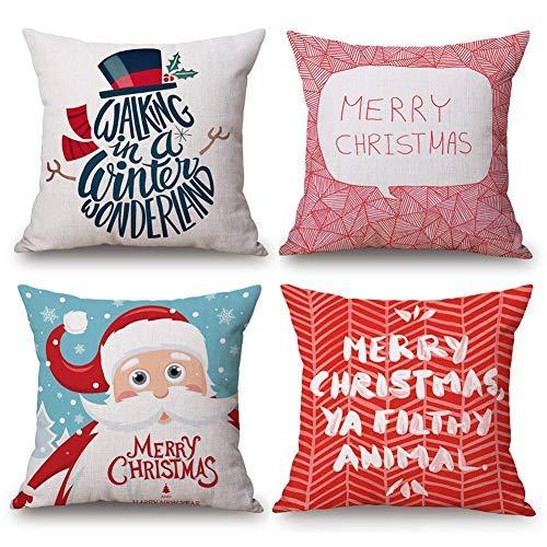 Asamour 4Stück Merry Christmas Thema Dekorativer Überwurf-Kissenbezug festlichen Rot Santa mit Funny Zitate Baumwolle Leinen Kissenbezug 45,7x 45,7cm für Zuhause Auto 18'' x 18'' 4 Pack Xmas-a