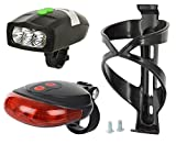 #1: Dark Horse Combo Offer: Bicycle 3 LED Front Head Light & Loud Horn Bell and Bicycle 7 Mode 5 LED Bright Tail Light with 2 Red Laser Beam Free Black Bottle CAGE with Allen Key Bolts Worth RS. 145/-