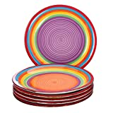 MamboCat 6-TLG. Speisetellerset Ibiza rund kunterbunte Essteller Menü-Teller flach Servier-Geschirr Buffet-Platte Steingut-Geschirr Regenbogenfarben Rainbow