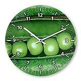 Wanduhr mit Motiv - grüne Bohne - aus Echt-Glas | runde Küchen-Uhr | große Uhr modern