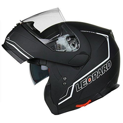 Extra Dark Smoke Visor Black XS Leopard LEO-888 DVS Modular Flip up Front Motorbike Motorcycle Helmet 53-54cm