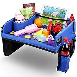 Kids Toys Kinder Auto-Kindertisch Reisetisch Knietablett mit 16 Organizer-Taschen 5 Zeichenpapier 6 Pinsel 1 Lineal Kindersitz Spieltisch Waschbar Malbrett Multifunktional Indoor Outdoor
