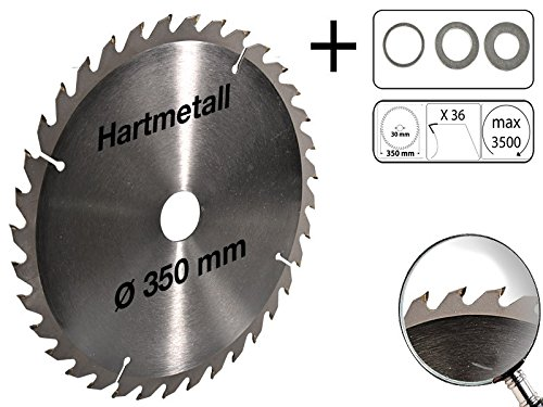 Preisvergleich Produktbild Profi Hartmetall Kreissägeblatt für Holz PVC 350 mm x 30 mm 36 Zähne mit 3 Reduzierringe