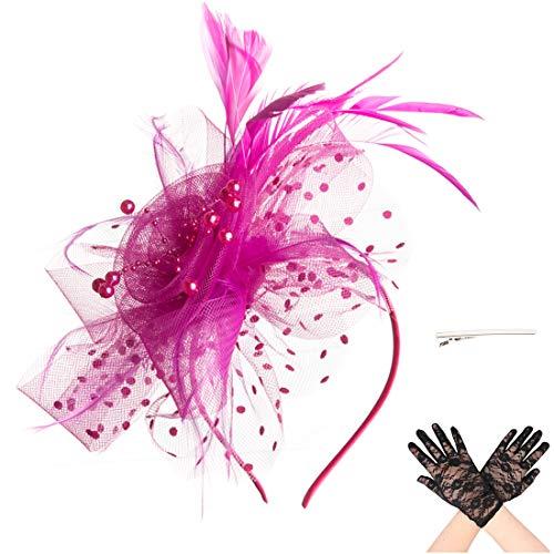 Fascinator Blume Netzmütze Feder Mesh Netz Schleier Tea Party Derby Hut mit Clip und Haarband für Frauen und Handschuhe (A6-Rose Red) (Frauen Tea-party-hüte)