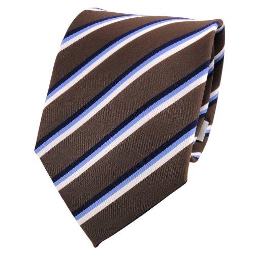Designer Krawatte braun dunkelbraun blau weiß gestreift - Schlips Binder