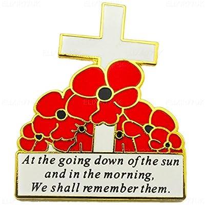 New White Cross and Red Poppy Flower Lapel Pin Badge REMEMBER THEM UK SELLER