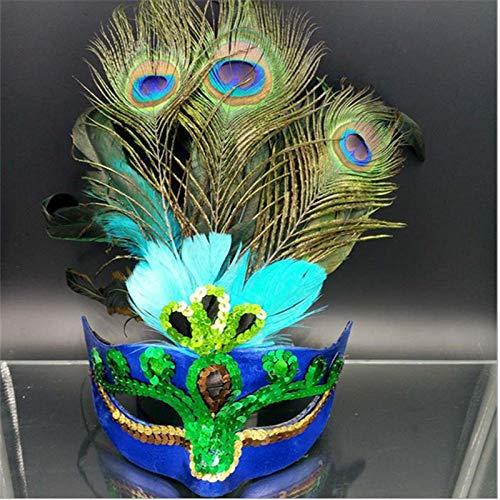 Kostüm Bären Weibliche - QTJKH Horror Maske Venezianische Maskerade Maske Frau Weibliche Maskerade Masken Lu*Us Pfau Halbe Gesichtsmaske Party Cosplay Halloween Venezianische Maske