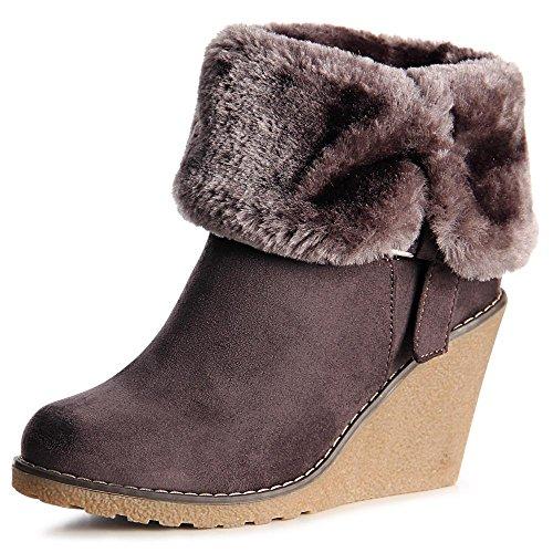 topschuhe24 1016 Damen Keilabsatz Stiefeletten Boots Booties Grau