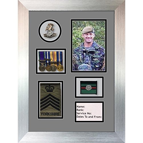Kwik Picture Framing Ltd Yorkshire Regiment Medal Frame, Cap Badge and war Medal Display Frame Grey Mount - Silver Frame