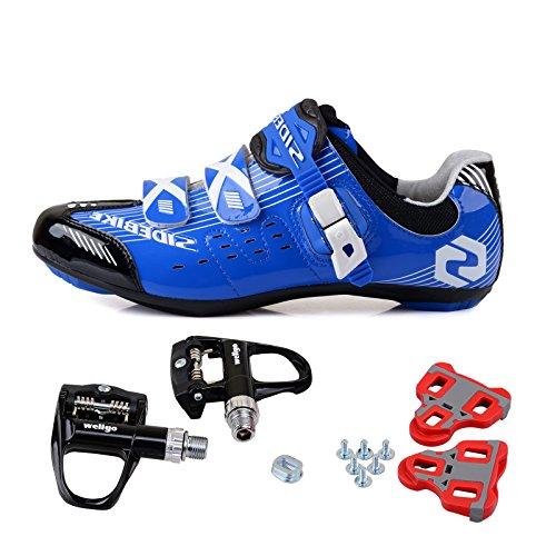 TXJ Rennradschuhe Fahrradschuhe Radsportschuhe mit Klickpedale EU Größe 44 Ft 27.5cm (SD-003 Blau / Schwarz)(pedale schwarz)