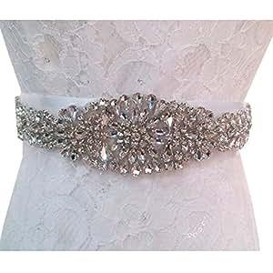 TRLYC Ivory and White Ribbon Wedding Sash Bridal Belt Wedding Dress Belt Crystal Rhinestone Applique
