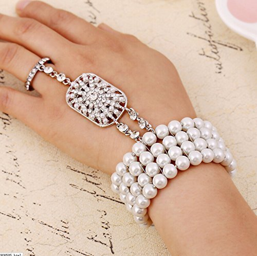 Bridal jewelry popular Fashion Christmas gift The Great Gatsby Pearl Bridal Bracelet with bangle Set for Women