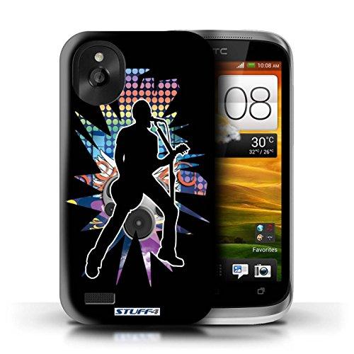 Kobalt® Imprimé Etui / Coque pour HTC Desire X / Chanteur Blanc conception / Série Rock Star Pose Chanteur Noir