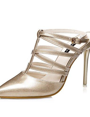 LFNLYX Scarpe Donna-Sandali-Formale-Tacchi / Con cinghia / A punta / Chiusa-A stiletto-Finta pelle-Nero / Rosa / Argento / Dorato / Borgogna Pink