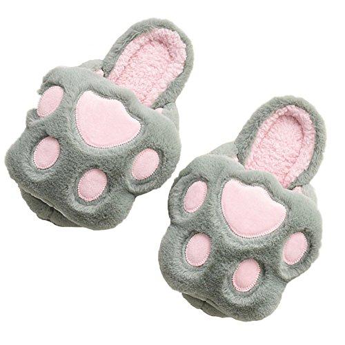 Minetom Herren Damen Winter Baumwolle Pantoffeln Soft Plüsch Wärme Weiche Hausschuhe Kuschelige Home Rutschfeste Slippers Nette Bärnhandschuhe