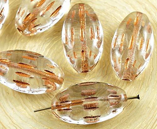 6x Kristall-Kupfer, Bronze Waschen Flache Ovale Geschnitzte Gestreift Tribe Tschechische Glas-Perlen 20mm x 11mm - Kristall Tschechische Gläser