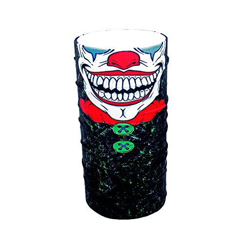 (ZaPro HD Druck Premium - Multifunktionstuch - Verschiedene Designs Bedrucktes Halstuch Motorrad Sommer Frühling Totenkopf Skull Fastnacht Bunt Maske Joker Buff Tuch Venom (Crazy Clown))