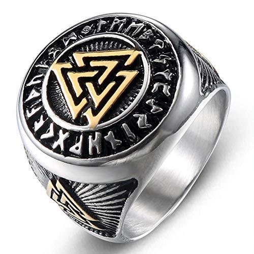 MAFYU Calidad Anillos Anillo de Acero de Titanio de Europeo Retro Hombre Vikingo nórdico triángulo símbolo Regalo a Querido