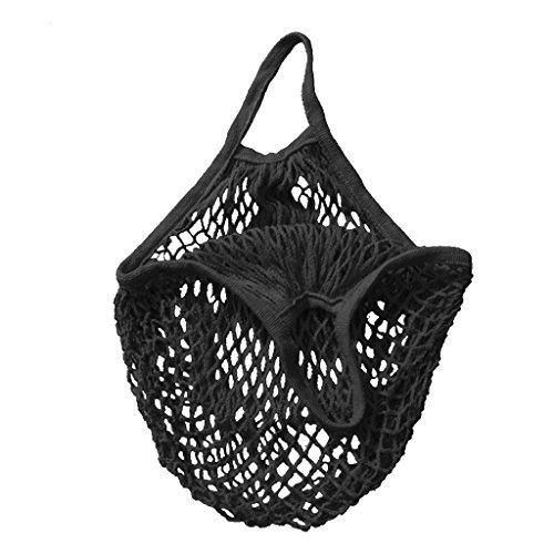 Sac en maille corde de coton bio Cabas Filet tissé Sac réutilisable - Noir, 38,1 cm