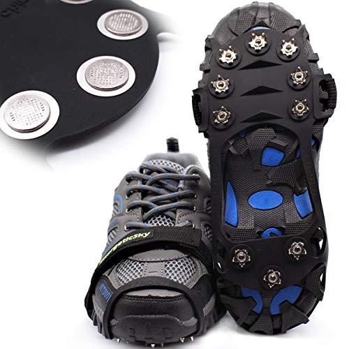 Steigeisen Schuhspikes mit 10 Noppen,Das einzig Innovative Design bei Amazon,Ice Klampen,Eisspikes für Den Stiefel,Schuhkralle. (Black, M)