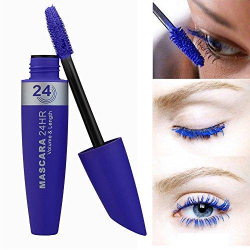 masrin Neue Lange lockige Haare Make-up Wimpern Multicolor wasserdichte Faser Mascara Wimpern Farbe Mascara (Blau) -