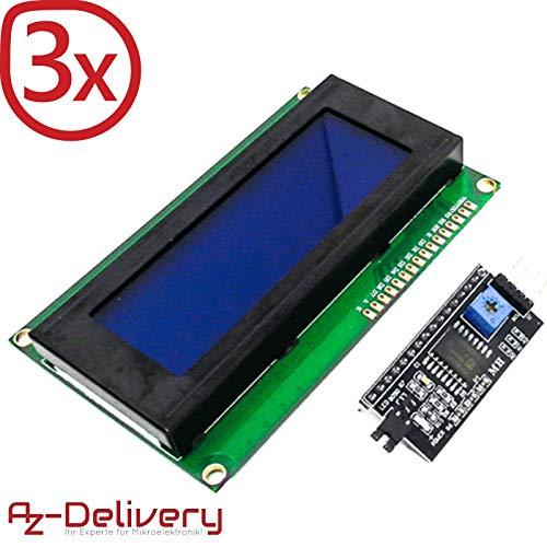 AZDelivery ⭐⭐⭐⭐⭐ 3 x HD44780 2004 LCD Display Bundle 4x20 Zeichen mit I2C Schnittstelle für Arduino mit gratis eBook! Display Bundle