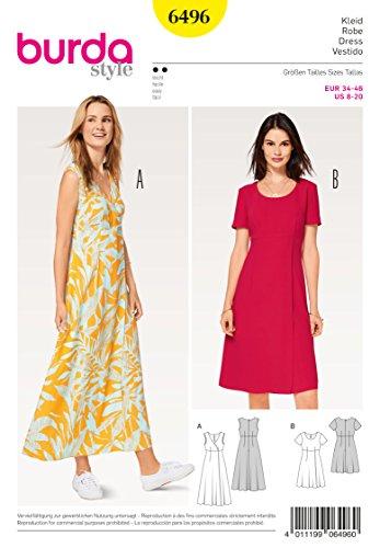 Burda 6496 Schnittmuster Kleid mit Wickeleffekt (Damen, Gr, 34 - 46) Level 2 Leicht