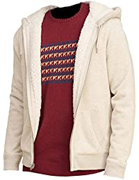 Hollister - Homme - Textured Sherpa Lined Hoodie Sweat à Capuche Sweatshirt - Manche Longue
