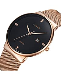 Relojes Hombre Ultra Fino Minimalista Lujo Moda Relojes de Pulsera para Hombres Impermeable Reloj de Cuarzo para Hombre con Banda Gold…