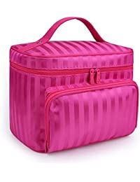 A Type-Rose : DRQ Large Cosmetic Bags-Multifunction Portable Travel Toiletry Bag Cosmetic Makeup Bags With Mirror...