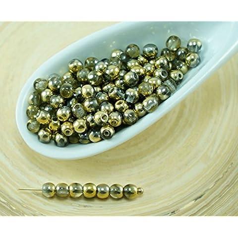 100pcs Cristallo Oro a Mezzo Giro ceca Perle di Vetro di Piccolo Distanziale di Nozze 3mm