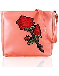 Voaka Women's Stylish Design Multi Flower Sling Bag For Girls/Women (PeachPeach)