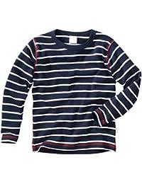 wellyou, Baby Langarm-Shirt, dunkel-blau weiß gestreift, Kinder Longsleeve geringelt, für Jungen und Mädchen, Baumwoll-Feinripp