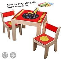 Preisvergleich für Labebe Hohe Qualität Mehrzweck Tisch Stuhl, Karikatur Holz Kindertisch Set Benutzt als Malerei Lesen Gruppenspiel Tisch für Mädchen&Junge 1 Jahre Alt oder Mehr