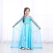 URAQT Disfraz de Princesa Frozen Elsa, Traje del Vestido Traje de Princesa de la Nieve Vestido Infantil Disfraz de Princesa de Niñas para Frozen Themed Fiesta Cumpleaños Navidad Halloween Traje Fiesta