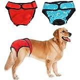 Bwogue Premium Hund Windeln weiblich (2 Stück) mit Klettverschluss waschbar wiederverwendbar Sanitär Panty für kleine bis große Hunde