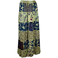 Womens Maxi Skirt Green Gypsy Tiered Patchwork Rayon Vintage Retro S/M