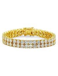 MKHDD Bracciale Unisex in Oro con Diamanti E Zirconio in Cristallo Placcato Oro con Diamanti per Gioielli da Uomo,Gold