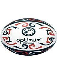 Optimum Tribal Training - Balón de rugby, tamaño 5, color rojo / blanco / negro