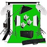 Softbox et parapluie éclairage continu kit avec 3 fond en coton et support pour studio photo—15 Ampoules boîte à lumière kit culot 5 en 1, 6 interrupteurs indépendants permettent le contrôle précis, 2 parapluies translucides sert à une source supplémentaire
