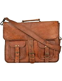 Vintage Handmade Genuine Brown Leather Laptop And Messenger Bag And Office Bag For Znt Bags - B0795SB4LQ