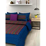 UniqChoice Printed 100% Cotton Rajasthani Traditional Print King Size Double Bedsheet With Zipped 2 Pillow Cover(Blue Color….)