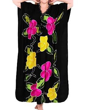 *La Leela* beachwear costumi da bagno delle donne rayon coprire caftani aloha nightwear più nero